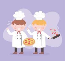 chefs meninos cartoon personagem com pizza e salada em uma panela vetor