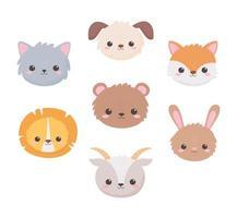 cão fofo cabra urso coelho leão raposa e cabeças de gato animais de desenho animado vetor