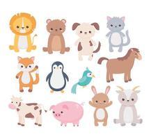 cão fofo cabra urso gato papagaio cavalo porco pinguim vaca desenho animado animais ícones vetor
