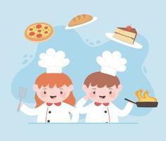 chefs de desenho animado menino e menina com pão de bolo de pizza vetor