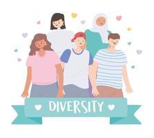 diversos grupos multirraciais e multiculturais com personagens diferentes vetor