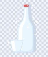 maquetes de garrafas de copos de plástico ou vidro, garrafa de vinho e copo vazio vetor