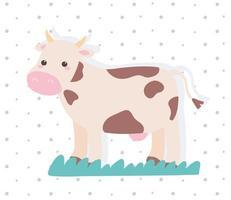 desenho animado de vaca fofa em uma paisagem natural com fundo pontilhado