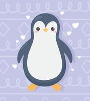 Desenhos animados de pinguim fofinho com corações de amor adorável vetor