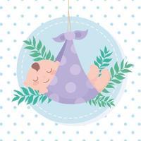chá de bebê, cobertor pontilhado com garotinho com decoração de folhas, cartão comemorativo de boas-vindas do recém-nascido vetor