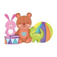ursinho de pelúcia coelho bola de dinossauro e brinquedos de bateria para crianças pequenas brincarem de desenho animado vetor