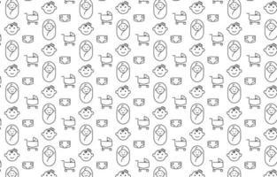 design de padrão de ícone de bebê mínimo em fundo branco vetor