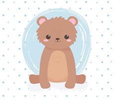 urso fofo sentado animal em pé desenho animado fundo de pontos azuis