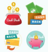 Pacote de vetores do ícone de dinheiro para trás
