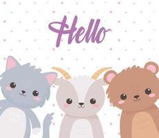 animais fofos cabra urso e gato cartão de desenho animado de inscrição olá vetor
