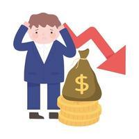 falência empresário caindo seta dinheiro processo crise financeira
