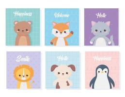 Desenhos animados bonitos cartões de retrato de animais com urso gato leão cão pinguim vetor