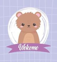 urso fofo sentado animal cartoon fita de boas-vindas vetor
