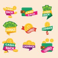 Etiquetas de devolução do dinheiro vetor