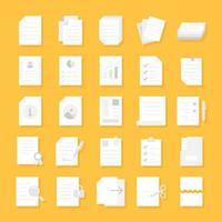 conjunto de ícones plana de documentos vetor