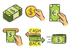 vetor desenhado a dedo do dinheiro para trás