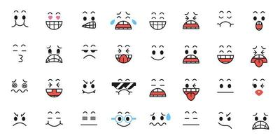 conjunto de desenho animado com expressões faciais
