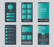 Conjunto de vetores de Gui de aplicativo móvel