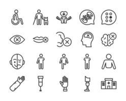conjunto de ícones de linha de deficiência