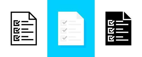 conjunto de ícones de lista de verificação de documentos vetor