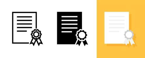 certificado ou conjunto de ícones de diploma vetor