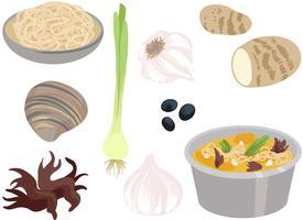 ingredientes de panela quente 2 vetores