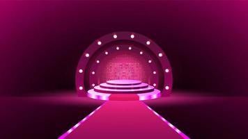 ilustração de um palco rosa cheio de luzes vetor