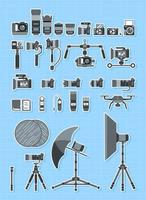 ícone da câmera definido vista lateral de equipamentos fotográficos