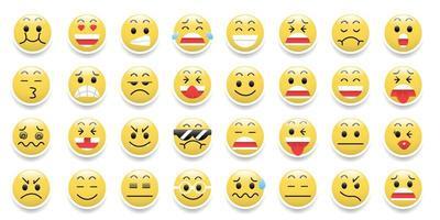ícone de emoticons com emoções de desenho animado vetor