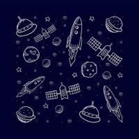 elementos de espaço desenhados à mão vetor