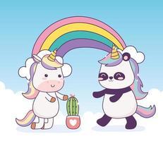 panda kawaii e unicórnio com fantasia mágica de desenho animado de cacto e arco-íris vetor
