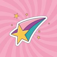 Ícone de decoração de adesivo da moda em remendo de estrela cadente vetor