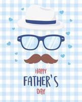 feliz dia dos pais, óculos bigode chapéu corações fundo azul vetor