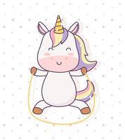 unicórnio kawaii brincando com fantasia mágica de personagem de desenho animado pular corda vetor