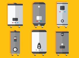 Vetor de coleção de aquecedor de água plana