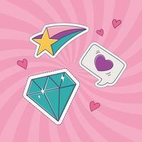 estrela de diamante e ícone de decoração de adesivo de emblema de moda de remendo de amor de coração vetor