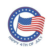 projeto do vetor do selo da bandeira do dia da independência