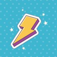 ícone de decoração de adesivo de emblema de moda com estrelas de raio de raio vetor