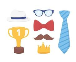 feliz dia dos pais, gravata ouro coroa bigode óculos chapéu gravata borboleta vetor