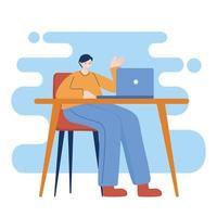 homem com laptop na mesa de desenho vetorial