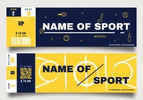 Modelo de bilhete de evento esportivo vetor