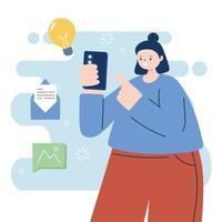 mulher com desenho vetorial de smartphone