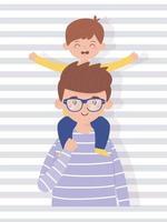 desenho vetorial de pai e filho vetor