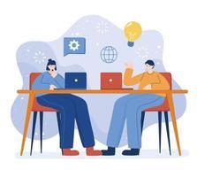 mulher e homem com laptop na mesa desenho vetorial