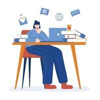 mulher com laptop e livros na mesa de desenho vetorial vetor