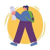 menina com papel e mochila caminhando