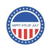 dia da independência design de selo de selo listrado e estrelado vetor