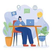 mulher com laptop na mesa desenho vetorial vetor
