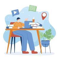 homem com laptop e livros na mesa de desenho vetorial