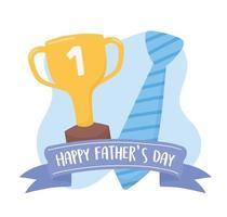 feliz dia dos pais, gravata e troféu de ouro cartão de letras com fita vetor